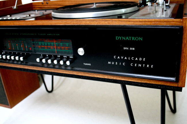 Vintage Dynatron Cavalcade music centre with hairpin legs