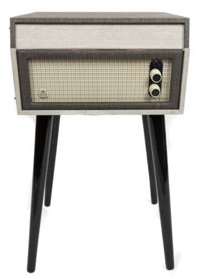 Dansette-style GPO Bermuda record player on legs now available in a grey finish