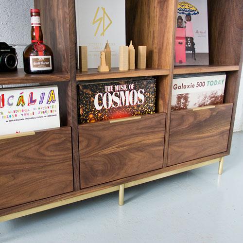 Retro-style Korgis record cabinet and bookshelf by Mitz Takahashi