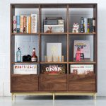 Retro-style Korgis record cabinet and bookshelf by Mitz Takahashi