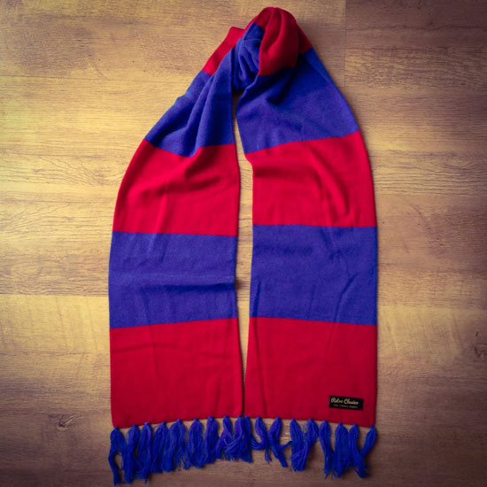 Vintage-style merino wool striped football scarves by Retro Clasico