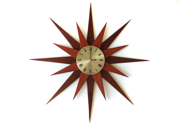 Midcentury-style sunburst and starburst clocks by Absolute Black Granite