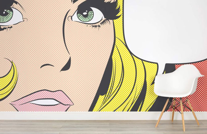 Roy Lichtenstein-inspired wall murals at Murals Wallpaper
