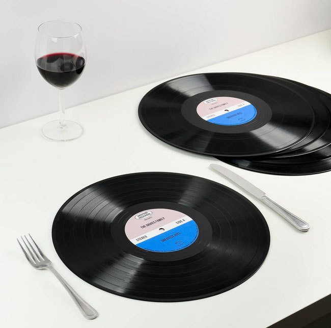 Personalised vinyl record placemats by MixPixie