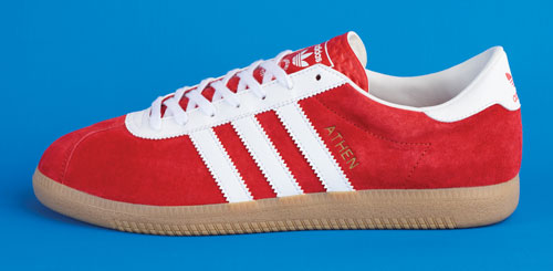 Launching tomorrow: 1960s Adidas Originals Athen trainers in red suede