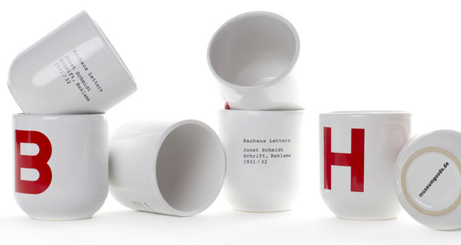 Modernist kitchen: Bauhaus Letters cups at Museum Goods