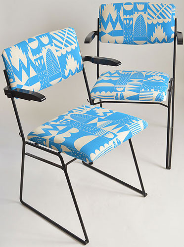 Re-upholstered midcentury chairs by Elizabeth Rose