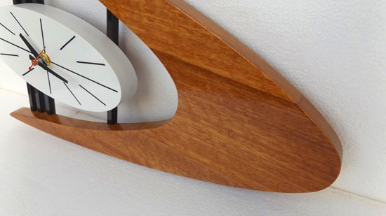 Midcentury-style Boomerang wall clock by TNT Designs