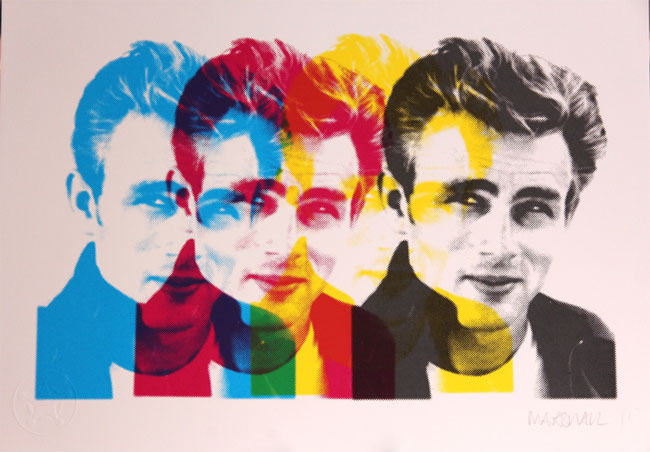 James Dean pop art print by Russell Marshall