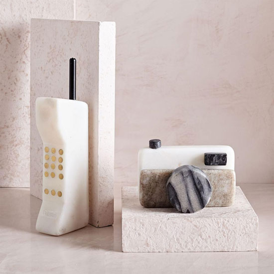 Retro car phone and camera in marble at West Elm