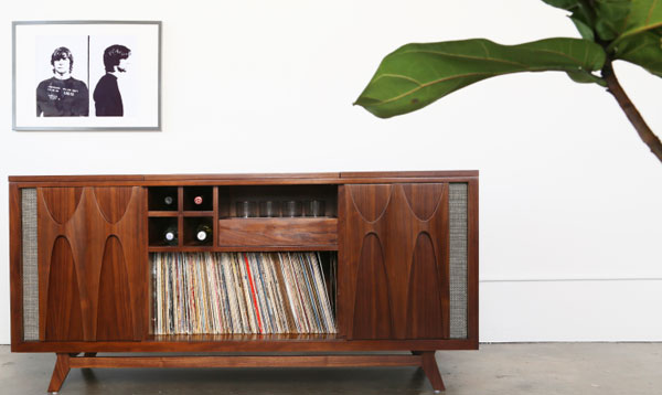 15. Luno midcentury-style audio system with built-in drinks cabinet