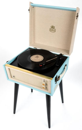 6. 1960s-style GPO Retro Bermuda record player with legs