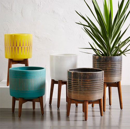 7. Mid-Century Turned Leg Planters at West Elm