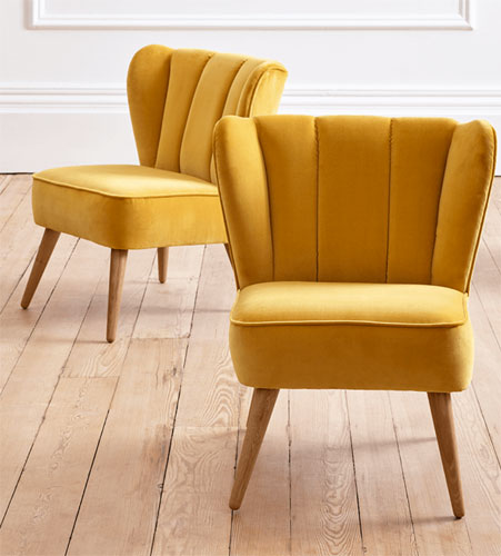 Retro-style Westbury velvet chair at Cox & Cox