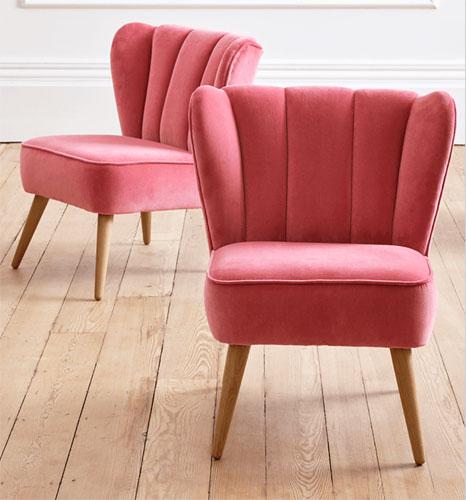 Retro-style Westbury velvet chair at Cox & Cox