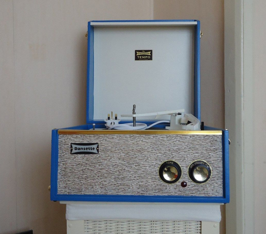 1960s Dansette Tempo record player in blue on eBay