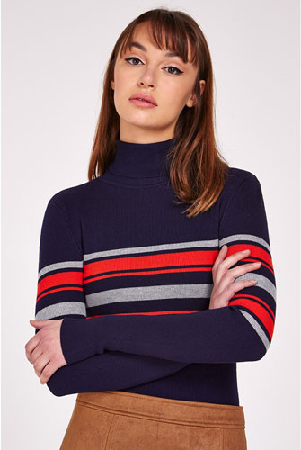 Retro knitwear: Louche Jozie Stripe Polo Neck Jumper