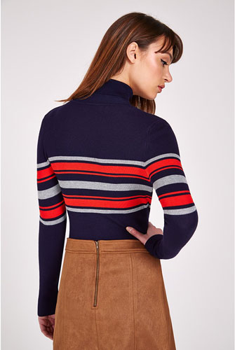Retro knitwear: Louche Jozie Stripe Polo Neck Jumper