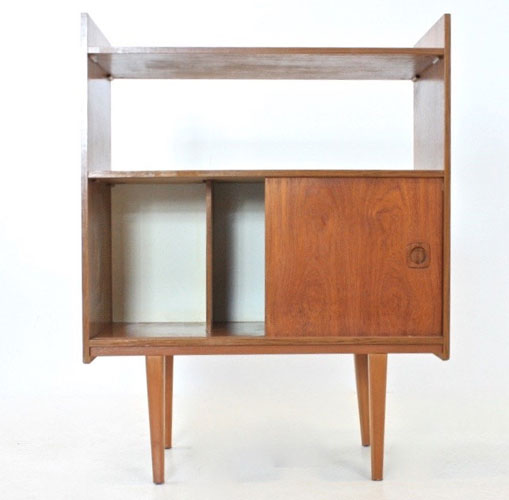 Midcentury-style teak record storage unit on eBay