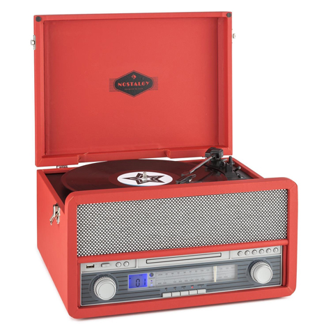 Retro-style Auna Belle Epoque record player with CD playback and cassette deck