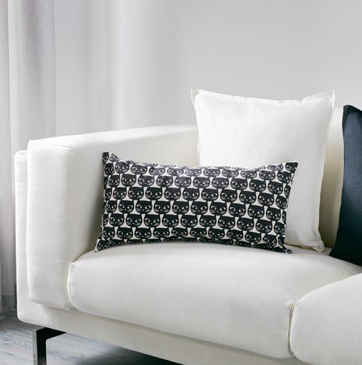 Mattram retro cat curtains and cushions at Ikea