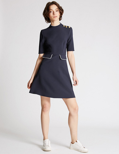 1960s-inspired contrasting edge dress at Marks & Spencer