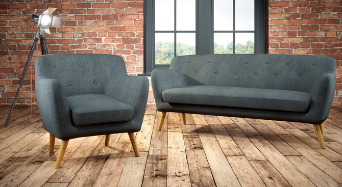 Holborn midcentury-style sofa and armchair at Matalan