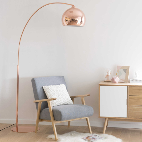Sphere 1960s style copper finish floor lamp at maisons du - Magasin style maison du monde ...