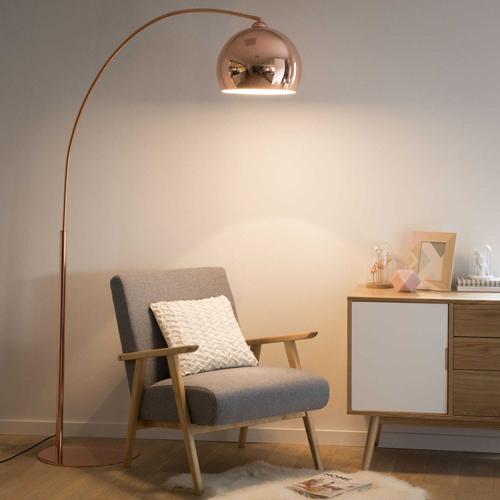 Sphere 1960s Style Copper Finish Floor Lamp At Maisons Du