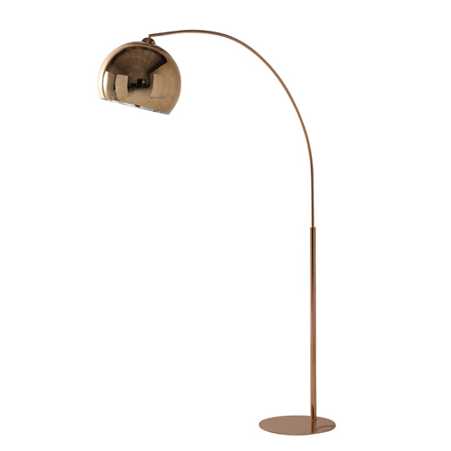 sphere 1960s style copper finish floor lamp at maisons du. Black Bedroom Furniture Sets. Home Design Ideas