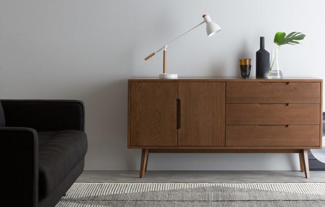 Jenson dark oak retro furniture range at Made