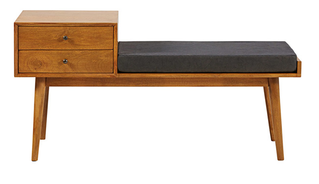 Vintage-style Flynn entryway bench at Maisons Du Monde