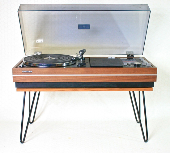 Sharp SG-315 teak music centre with hairpin legs on eBay
