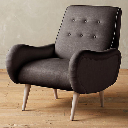 Midcentury-style Losange Chair in linen and velvet at Anthropologie
