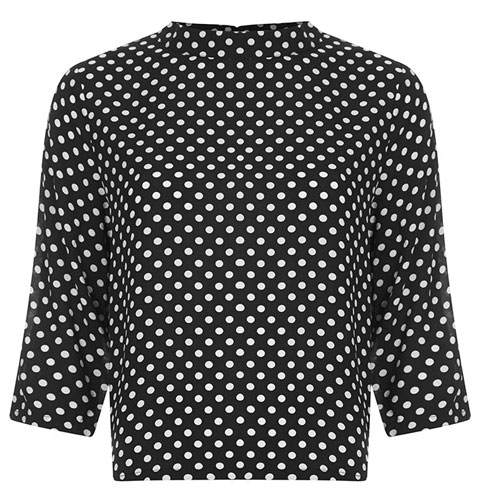 Vintage-style Charnelle high-neck spot top at Joy