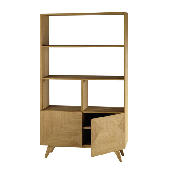 Origami retro-style wooden bookcase at Maisons Du Monde