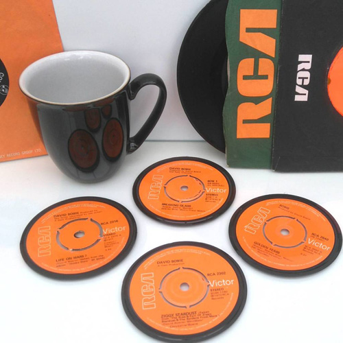 Personalised record label coasters by Vinyl Village