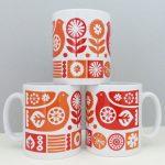 Scandinavian-style ceramic mugs by Fran Wood Design