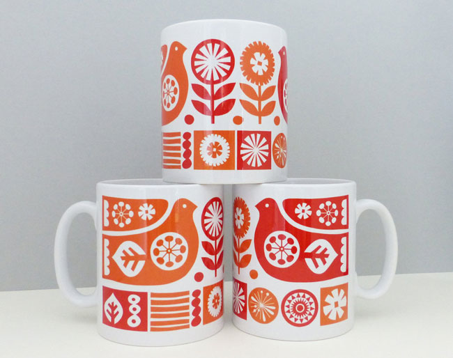 Scandinavian-style ceramic mugs by Fran Wood Design
