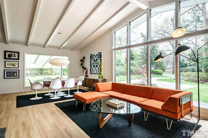 Retro house for sale: 1950s midcentury modern property in Raleigh, North Carolina, USA