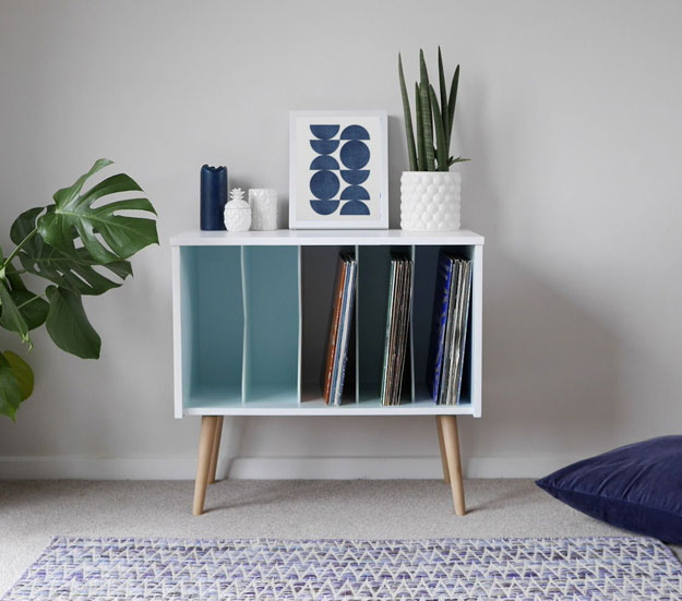 Upcycled midcentury-style record storage unit on eBay
