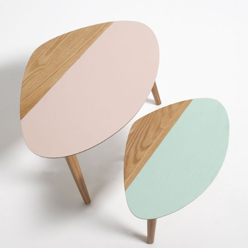 Retro living room: Clairoy nest of two-tone tables at La Redoute