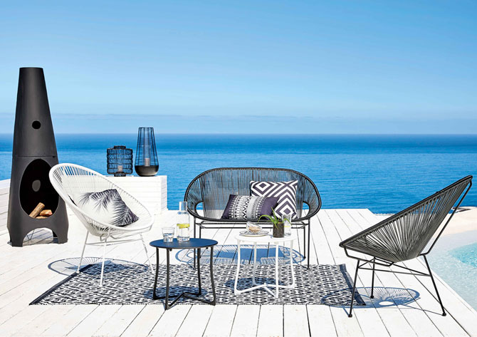 copacabana 1950s style outdoor seating at maisons du monde. Black Bedroom Furniture Sets. Home Design Ideas