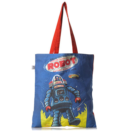 Retro robot tote bags at the Science Museum