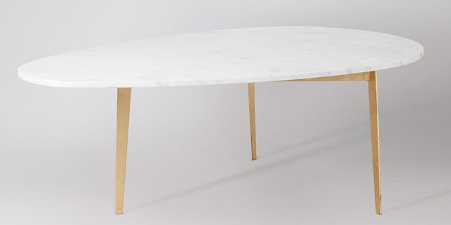 Midcentury glamour: Gianni marble and gold coffee table at Swoon Editions