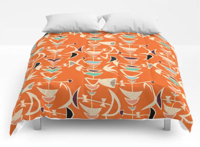 Bold midcentury modern duvet covers by Jenn Ski