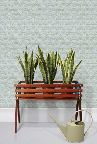 Retro-style Metroland wallpaper by Mini Moderns
