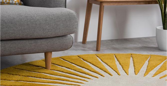 Vaserely large circular wool rug at Made
