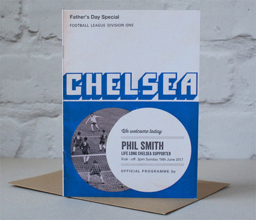 Personalised vintage-style football programme Father's Day cards
