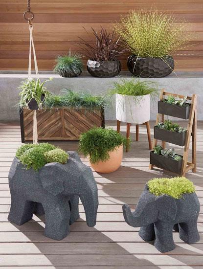 Midcentury-style concrete planters at Next
